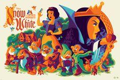 Snow White and the Seven Dwarfs Screen Print by Tom Whalen x Mondo x Disney Disney Pixar, Disney Fan Art, Walt Disney, Disney E Dreamworks, Deco Disney, Disney Animation, Animation Movies, Disney Movie Posters, Movie Poster Art