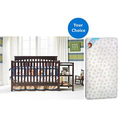 Graco Woodbridge 4-in-1 Crib and Changer Combo (Your Choice Finish) with Kolcraft Mattress Set