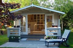 Shed Plans - If you are in desperate need of a home office but simply do not have anywhere to set up indoors, you could consider turning a garden shed. - Now You Can Build ANY Shed In A Weekend Even If You've Zero Woodworking Experience! Shed Office, Backyard Office, Backyard Studio, Backyard Retreat, Outdoor Office, Backyard Cottage, Garden Studio, Outdoor Decor, Studio Hangar