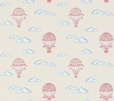 Balloons Wallpaper from Sanderson Abracazoo Collection. A children's wallpaper featuring hot air balloons gracefully drifting in a cloud filled sky, printed in red and white on a vanilla background. Seaside Wallpaper, Cool Wallpaper, Beautiful Wallpaper, Balloon Illustration, Cute Illustration, Shell Frame, Cute Dinosaur, White Clouds, Old English