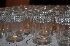 ONE Clear  Glass Votive Holder with Bling by MyKreations4U on Etsy