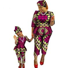 African Traditional Mother and Daughter Matching Dashiki Family Clothing Sets Ankara Styles For Kids, African Dresses For Kids, African Clothing For Men, African Children, Latest African Fashion Dresses, African Traditional Dresses, Traditional Fashion, Traditional Outfits, Family Clothing Sets