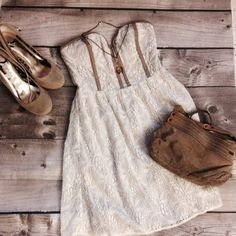 Urban Outfitters Strapless Lace Dress Taupe brown trim and an inner corset with light boning and a sweetheart neckline flares out into a flirty skirt. Soft white lace with dove gray slip underneath. Stretchy bandeau in back. Size small. Bundle now for 10% off! Pins & Needles Dresses Strapless