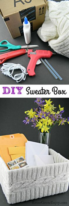 This DIY Sweater Box is super easy to make! Even for the non crafters. Plus it can brighten up your home while you recycle at the same time!