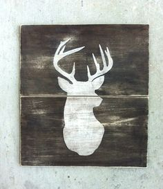 DEER SIGN Vintage Inspired Deer Wood Sign Deer Head by KellyAvenue