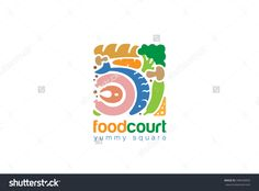 Food Set Gourmet Square Logo Shop Abstract Design Vector Template. Fish Bread Meat Vegetables Assortment Store Logotype Concept Icon - 348436835 : Shutterstock