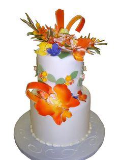 Exotic Flowers Wedding Cake by sarajpastries And Cakes, via Flickr