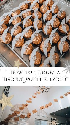 Transform your house into Hogwarts with this Harry Potter Party tutorial! Complete with Ferrero Rocher Golden Snitches Floating letters DIY dementor tutorial floating candles chocolate frogs Harry Pot Baby Harry Potter, Baby Shower Harry Potter, Harry Potter Motto Party, Gateau Harry Potter, Harry Potter Thema, Harry Potter Halloween Party, Theme Harry Potter, Harry Potter Food, Harry Potter Christmas