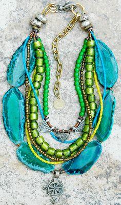 Blue, Green, Yellow Mixed Media Ethiopian Cross Multi-Strand Necklace