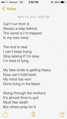 Suicide, self harm, depression, sadness, poems: