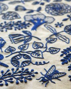 Blue embroidery.