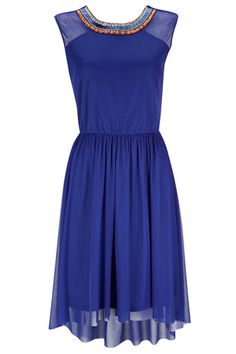 Wallis- Blue Embellished Dress