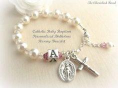 Personalizada Birthstone católica bebé por TheCherishedBead en Etsy