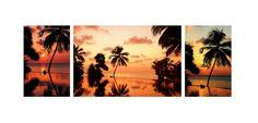 Tropical Photograph - Tropical Sunset Triptych by Jenny Rainbow Tropical Photographs, Triptych Art, Fine Art Photography, Tapestry, Rainbow, Sky, Sunset, Wall Art, Interior Design