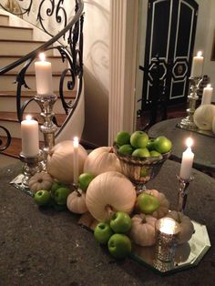 Dazzling Decor with Green Apples And White Pumpkins for Thanksgiving Table Fall Home Decor, Autumn Home, Decoration Inspiration, Decor Ideas, Room Ideas, Style Inspiration, Seasonal Decor, Holiday Decor, Autumn Decorating