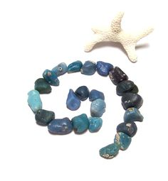 Blue Pinwheel - Genuine Beach Glass - Stones Slag - DIY Beads - Crafts - Undrilled Lot