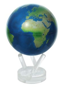 $144.99 For a simple yet captivating world globe, choose the 7.25 inch tall Mova 4.5-inch Satellite View Natural Earth World Globe. Its smooth rotation is powered only by ambient light, and is highlighted by stark, green landmasses and a jet black ocean for a pristine look. #desktopglobes #floorglobes #worldglobes #education #geography #teaching #vintage #antiqueglobes #kidsglobes #4inchglobes