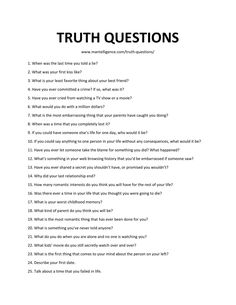 Use these 59 good truth questions, to quickly + humorously start a great game of truth or dare (or a great conversation). This is the only list you'll need! Deep Conversation Topics, Conversation Starter Questions, Conversation Starters, Questions To Get To Know Someone, Deep Questions To Ask, Getting To Know Someone, Things To Do At A Sleepover, Fun Sleepover Ideas, Crazy Things To Do With Friends