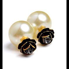 Pearl Rhinestone Double Sided Earrings Pearl Rhinestone Double Sided Earrings Jewelry Earrings