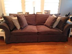 4 Cushion Sofa Over 61 Inches Custom Slipcover By LHarmonDesign