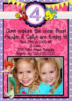 Printable Little Mermaid Birthday Invitation (with Photo). $14.00, via Etsy.