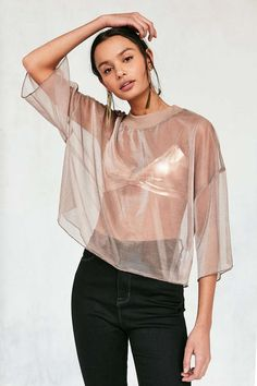 BDG Bryn Iridescent Mesh Cropped Tee - Urban Outfitters