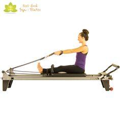 chest expansion facing straps pilates reformer exercise start position