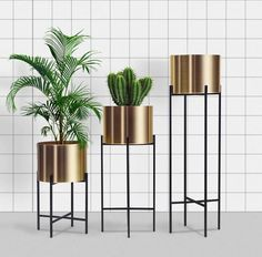 Modern Plant Stand, Metal Plant Stand, Diy Plant Stand, Plant Stands, House Plants Decor, Plant Decor, Stone Wall Design, Indoor Plant Pots, Indoor Gardening