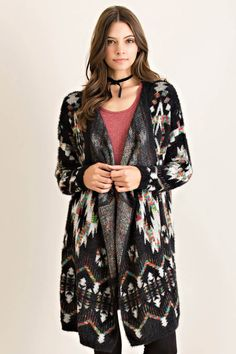 Ethnic Print Open Cardigan