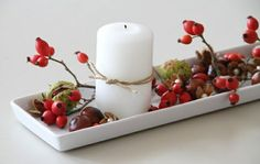 autumnal decoration ideas with rosehips - Diy Fall Decor Fall Crafts, Diy And Crafts, Deco Table, Homemade Crafts, Diy Candles, Decoration Table, Autumn Inspiration, Fall Halloween, Fall Decor