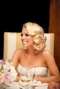 This old Hollywood, faux bob is glamorous and easy to achieve! Love this style especially for the Ballroom #wedding #hairy #bride