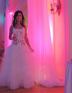 check out the skanky bride and tacky wedding decor....oh good god!