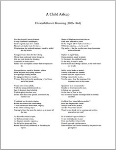 A Child Asleep by Elizabeth Barrett Browning - Free Printable Poem