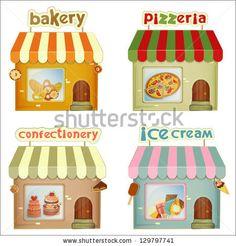 Set Of Cartoon Shops. Bakery, Pizzeria, Confectionery, Ice Cream ...