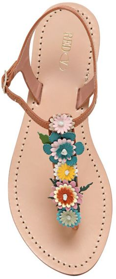 Red Valentino 10mm Leather Flower Sandals in Multicolor (NATURAL) Valentino Women, Leather Flowers, Leather Craft, Leather Sandals, Ladies Sandals, Lady, Vince Camuto, Accessories, Shoes