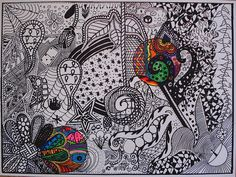 Art Sub Lessons: Black and White Doodle Design Middle School Art Projects, Art School, School Ideas, School Craft, School Fun, School Projects, Black And White Doodle, Black White, Art Sub Lessons