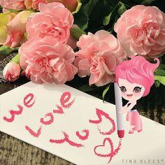 We love you~~ . #tingglees #tingglee #chu #rose #pink #flower #sweets #love #팅글리 #츄 #핑크 #분홍 #장미 #러브