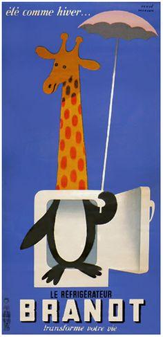 Poster by Hervé Morvan, Brandt refrigerator.