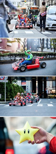 The real Mario Kart event in Tokyo on November 16, 2014.