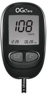 """OG Care """"okos"""" vércukorszintmérő készülék - Pontos és gazdaságos készülék, amely az adatok tárolásával, az étkezés előtti, utáni, illetve az ellenőrző funkció kiválasztásával értékes támogatást nyújt a diabétesz napló vezetéséhez."""