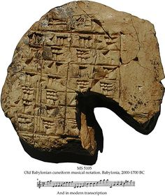 The oldest musical notation known so far, on a Babylonian lenticular tablet from 2000-1700 BCE. It was a school text used to teach the Babylonian 4-stringed lute, and the notation is of 2 ascending consecutive heptatonic scales.