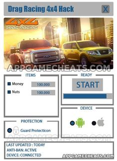 Drag Racing 4x4 Hack for Money and Nuts & Other Cheats - http://appgamecheats.com/drag-racing-4x4-hack-money-nuts-cheats/