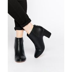 ASOS ROMANCE ME 60s Ankle Boots ($57) ❤ liked on Polyvore featuring shoes, boots, ankle booties, black pu, black bootie, black ankle booties, black ankle boots, zipper ankle boots and black ankle bootie