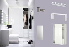 LED wall lights - PAX white wardrobe with HASVIK white high-gloss sliding doors and MALM occasional table with STAVE mirror
