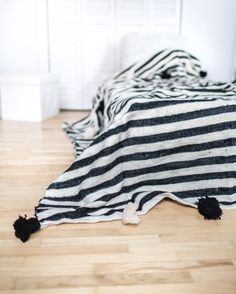 Paris Always. Moroccan Pom Pom Blanket, Wool, Bed Cover, Throw, Quilt, Blanket, Black/White