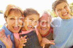 Portrait Of Grandparents And Grandchildren In Garden royalty-free stock photo
