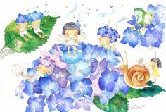 雨の日の音楽会/あじさい ポストカード2枚セット P-0216
