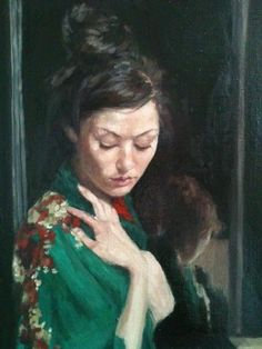 Although humble in size, the elongated portrait shape of this work effectively draws upon Ukiyo-e Japanese prints. The artist creatively embraces an oriental atmosphere  while maintaining a traditionally western technicality, thus echoing the impressionistic style of Whistler. I adore the emerald colour of this kimono and find this piece a deeply thoughtful and elegant painting xx