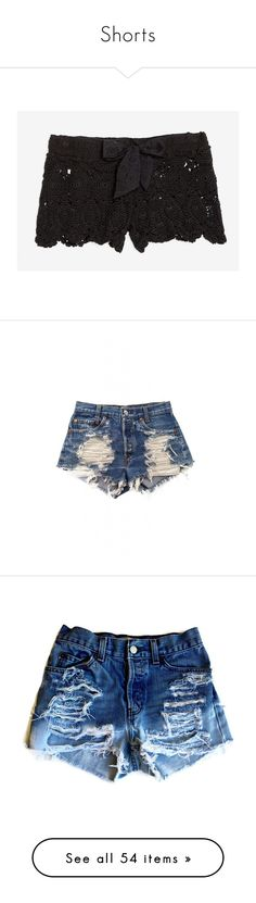 """Shorts"" by jualves-1611 ❤ liked on Polyvore featuring shorts, bottoms, pants, black, sash belt, elastic waist shorts, crochet beach shorts, macrame shorts, see through shorts and denim shorts"
