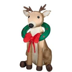 Airblown Inflatable Christmas Reindeer OUtdoor Decoration with Wreath * Details can be found by clicking on the image. Outdoor Reindeer Christmas Decorations, Christmas Ornaments, Seasonal Decor, Holiday Decor, Walmart Walmart, Wreaths, Seasons, Outdoor Decor, Xmas